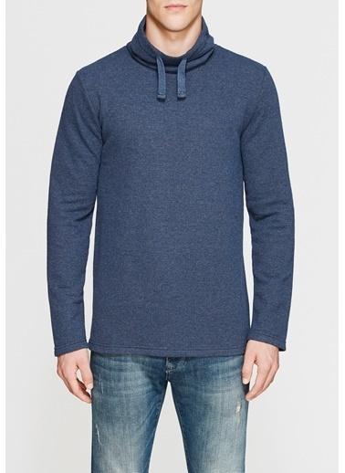 Mavi Yüksek Yaka Sweatshirt Mavi